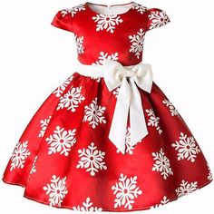 696324e26f36 Girls Christmas Snow Party Dresses Red and Blue