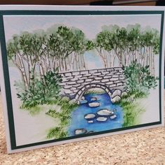 Create this beautiful watercolor stone bridge using Art Impressions stamps on watercolor paper with Marvy Markers. Watercolor Pictures, Pen And Watercolor, Watercolor Paintings, Art Impressions Stamps, Marker Art, Learn To Paint, Crayon, Art Journals, Acrylics