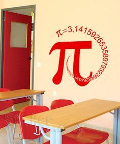 """Διακόσμηση Φροντιστηρίων - Αυτοκόλλητο Τοίχου """"π"""" - Pi Number in Spiral"""