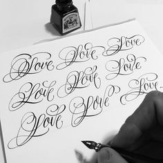 Calligraphy Fonts Alphabet, Tattoo Fonts Alphabet, Cursive Tattoos, Calligraphy Tattoo, Tattoo Lettering Fonts, Cursive Letters, Lettering Design, Copperplate Calligraphy, Lettering Ideas