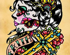 Day of the Dead Art Sugar SKULL BEAUTY 5 x 7 8 x 10 or 11 x
