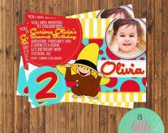 SALE Curious George Invitation- Curious George Birthday Invitation- Printable Monkey Invitation