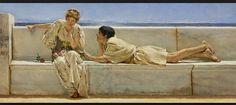 """Alma-Tadema rimane affascinato dagli scavi archeologici di Pompei e inizia a dipingere quei posti ridandogli vita. Il ragazzo sembra attendere ansiosamente una risposta, mentre la ragazza poggia lo sguardo altrove come se ciò potesse allontantanarla dalla situazione. Tutto ciò avviene sullo sfondo della penisola sorrentina. Il quadro s' intitola """"Una domanda""""."""