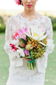 Mexican wedding bouquet / Jason Tey Photography #wedding #flowers ....love the lip colour!!!