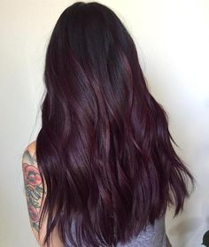 Burgundy Hair Color Ideas: Best Hairstyles for Maroon Hair (March - Plum hair - Hair Maroon Hair Colors, Hair Color Purple, Dark Maroon Hair, Dark Plum Hair, Plum Purple, Burgundy Plum Hair Color, Dark Brown Purple Hair, Eggplant Colored Hair, Purple Dye