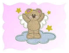 Angel Bear applique - 3 Sizes!   Angels   Machine Embroidery Designs   SWAKembroidery.com Fancy Fonts Embroidery