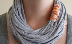 Fabric Necklace - Gray T-Shirt Necklace - Recycled T-Shirt - Infinity Necklace - Orange, Blue, and Yellow Binding - Eco Friendly by BuCip Fabric Necklace, Fabric Jewelry, Simple Necklace, Diy Necklace, Geek Jewelry, Diy Jewelry, Jewellery, Recycled Jewelry, Recycled Crafts