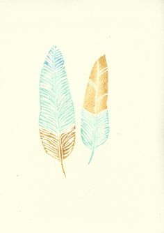 Mustard and Mint Modern Boho Feather von FeatherAndSixpence auf Etsy, £20.00