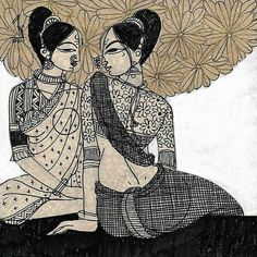friends by artist Varsha Kharatmal – Expressionism, Drawing Pichwai Paintings, Indian Art Paintings, Original Paintings, Madhubani Art, Madhubani Painting, Indian Art Gallery, Indian Contemporary Art, India Painting, Indian Folk Art