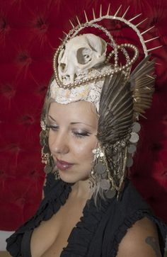 Epic Spiked Head Dress - Winged Headdress - Cougar Cat Skull Fangs - Kuchi Coins, Beaded Austrian Crystals - Tribal Nouveau - Forest Goddess