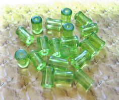 20 GREEN Glass CYLINDER TUBE Spacer Beads by YourNeedIsOurBeads, $2.25