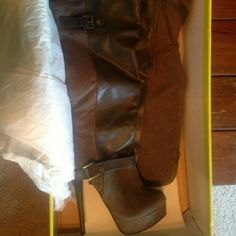 """Boots Size 6 Never been worn Heel is about 4""""-4.5"""" Looks taller than actually is Shoes Heeled Boots"""