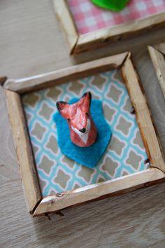 Miniature  Mr Fox Trophy  2.8 x 2.8 by ScandinavianToys on Etsy