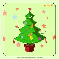 Christmas Tree 2 - Jigzaw Puzzles for Kids Preschool Christmas Crafts, Christmas Trees For Kids, Christmas Deer, A Christmas Story, Christmas Printables, Xmas, Fun Arts And Crafts, Crafts For Kids, Free Puzzles For Kids