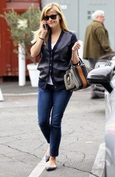 Celebrity Bargain Buys - Reese WItherspoon in J Crew leather front merino cardigan $247 #reesewitherspoon #celebs