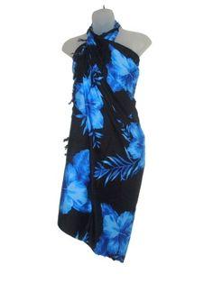 Hawaiian Long Sarong- Black With Blue Hibiscus (Misc. Luau Outfits, Beach Party Outfits, Hawaiian Wear, Hawaiian Clothes, Hawaiian Dresses, Hawaiian Outfits, Hawaiian Costume, Sarong Dress, Blue Hibiscus