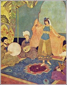 Edmund Dulac - Sinbad the Sailor, originally published as part of The Arabian Nights, 1907 - The sleeper: Abul Hasen entertains