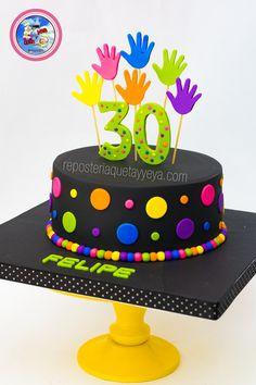 Torta Neón Manitos - Neon cake Bright Birthday Cakes, Boys 18th Birthday Cake, Birthday Party For Teens, Birthday Celebration, Bolo Neon, Neon Cakes, Cupcake Cakes, Cupcakes, Pinata Cake