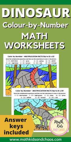 Fun, dinosaur-themed colour-by-number math worksheets for multiplication and division facts. It's math fact practice meets dinosuars! Multiplication And Division, Multiplication Facts, Math Facts, Math Worksheets, Math Resources, Third Grade Math, Grade 3, Math Classroom, Kindergarten Math