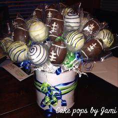 Seattle Seahawks themed cake pops! Go to my Facebook page Cake pops by Jami to see more.