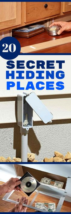 20 Secret Hiding Places Got some cash or valuables to hide? Try one of these clever, simple ways to hide those items from all but the smartest, most determined crooks. (Easy Diy With Household Items) Secret Hiding Places, Hiding Spots, Hidden Spaces, Hidden Rooms, Hidden Compartments, Secret Compartment, Secret Storage, Hidden Storage, Palette Deco