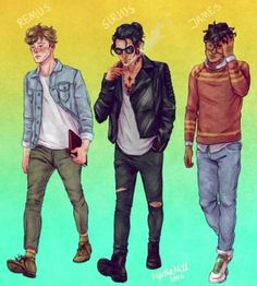 Remus 'Moony' Lupin, Sirius 'Padfoot' Black, and James 'Prongs' Potter