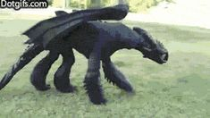 Toothless cosplay from How to Train Your Dragon -- animated gif so please click the link