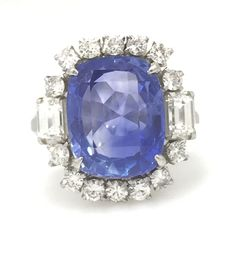 Estate 7.16 ct Cushion Natural Unheated Ceylon SAPPHIRE & Diamond Ring - HM1551 #Unbranded #SolitairewithAccents