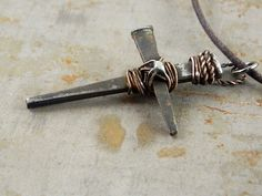 Medieval Rustic Cross Rusty Nails Handmade Necklace by Trijoux, $29.00