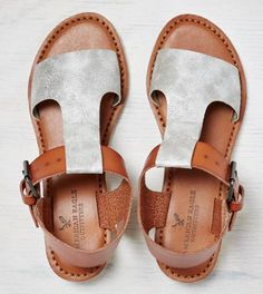 Silver AEO T-Strap Mini Wedge Sandal