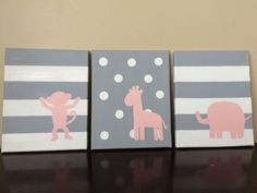 Monkey Giraffe & Elephant Canvas art. Set of 3 (8x10). Colors and images are customizable. by LittleWhispersOfHope