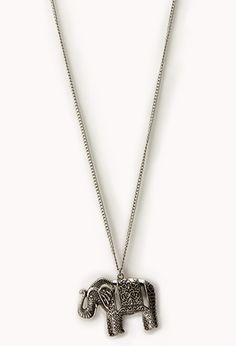 Etched Elephant Pendant | FOREVER21 - 1052287711