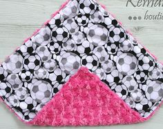 Soccer on Hot Pink Rosette Double Minky Baby Lovey 17x17 From Kemaily