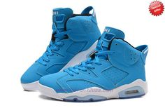 Buy Mens-Womens 205335-484 AIR JORDAN 6 RETRO Blue/White