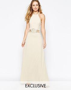 a342f7dba597 Enlarge Jarlo Aden High Neck Maxi Dress With Lace Insert Hvide Brudekjoler