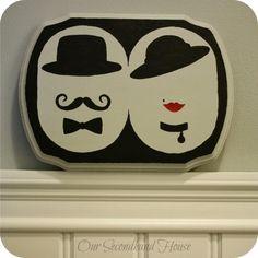 DIY His her powder room sign