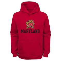 Maryland Terrapins Performance Fleece Hoodie - Boys 4-7, Boy's, Size: M(5/6), Red