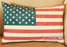 """Distressed U.S. Flag Pillow Cover of Natural 100% Cotton Canvas 
