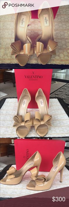 """Valentino Couture Bow D'orsay Patent Peep Toe Heel These Valentino shoes are everything! Bought for a wedding, worn once. Flattering patent leather neutral color goes with everything. 4"""" heel. In like new condition despite the wear on the bottoms and the small mark on the back heel (shown in pictures... truly not noticeable). Originally $800 but I paid $675. Original box and dust bag included. And let's not forget the bows!  Valentino Garavani Shoes Heels"""