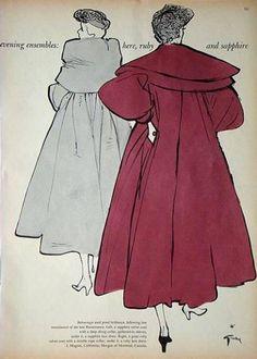 稀少!1950年ファッション画/ルネグリュオ/イラスト/アート/パリ_画像2