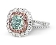 GIA Certified 1.23 Carat Fancy Light Bluish Green Diamond Two Color Gold Ring