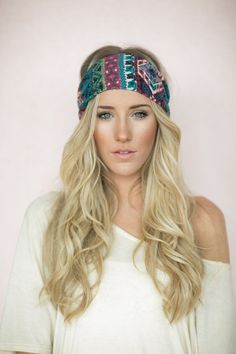 Turban Headband, Boho Head Wrap, Cute Hair Bands, Winter Bohemian Paisley Brushed Knit, Medallion Print, Headband (HB-177)