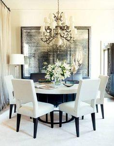 Neutral dining room decor... Dark woods...creme fabrics