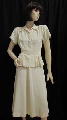 1940 s Miss Greeley Jr. Ivory Rayon Eyelet Peplum Day Dress -Size  27