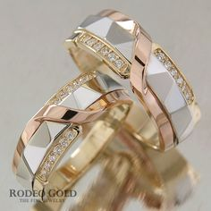 <b>Wedding</b> bands rose and white gold filigree