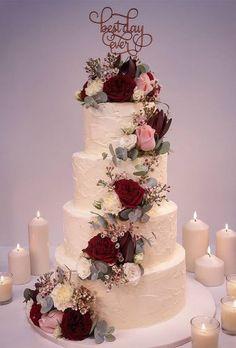2019 Most Popular Wedding Cakes---romantic ruffle wedding cake with cascading bu. - 2019 Most Popular Wedding Cakes—romantic ruffle wedding cake with cascading burgundy flowers and - Burgundy Wedding Cake, Floral Wedding Cakes, Fall Wedding Cakes, Wedding Cake Rustic, Wedding Cakes With Flowers, Beautiful Wedding Cakes, Wedding Cake Designs, Wedding Cake Toppers, Autumn Wedding