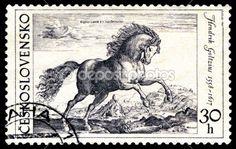 Vintage Czechoslovakian horse stamp.