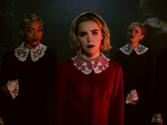 "The makeup artist from Netflix's ""The Chilling Adventures of Sabrina"" has revealed what lipsticks are used on Kiernan Shipka and the actresses who play the Weird Sisters. Melissa Joan Hart, Archie Comics, Sabrina Costume, Weird Sisters, Kiernan Shipka, Sabrina Spellman, Best Horrors, The Dark World, Shows On Netflix"