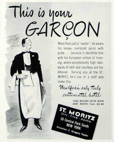 1946 Ad St. Moritz Park Garcon Waiter New York Continental Hotel Restaurant FTM1