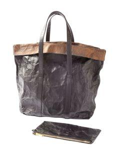 BLACK LEATHER FOIL TOTE BAG - HANDBAGS